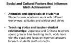 social and cultural factors that influence math achievement1