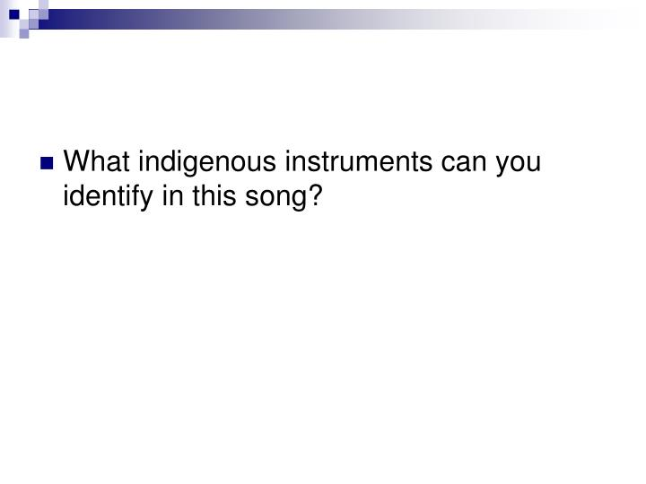 What indigenous instruments can you identify in this song?
