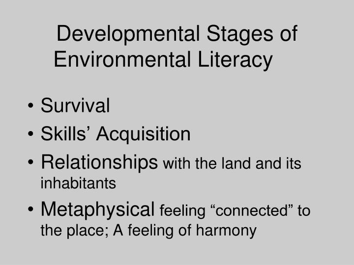 Developmental Stages of Environmental Literacy