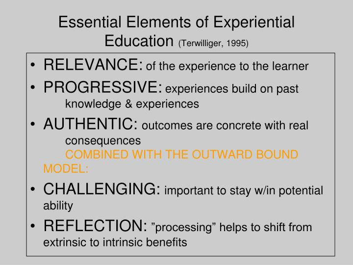 Essential Elements of Experiential Education