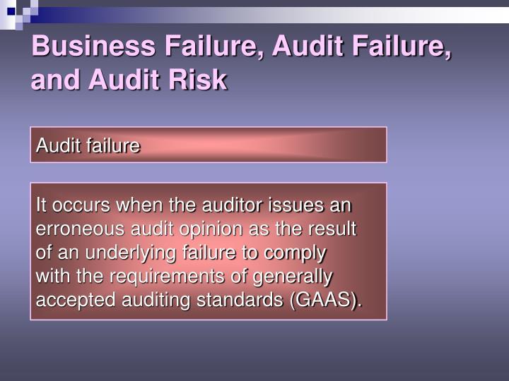 Business Failure, Audit Failure, and Audit Risk