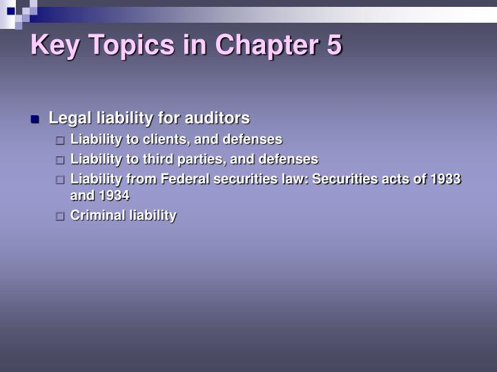 Key topics in chapter 5