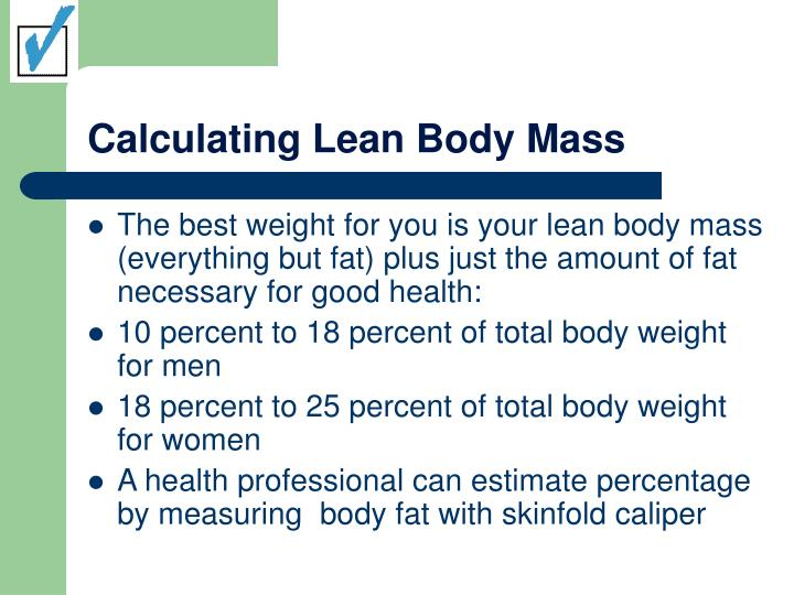 Calculating lean body mass