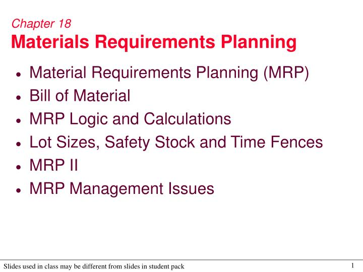 chapter 18 materials requirements planning n.