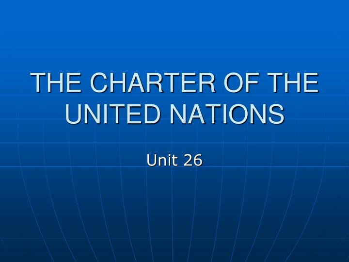 the charter of the united nations n.