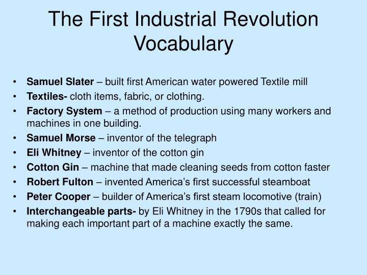 The first industrial revolution vocabulary
