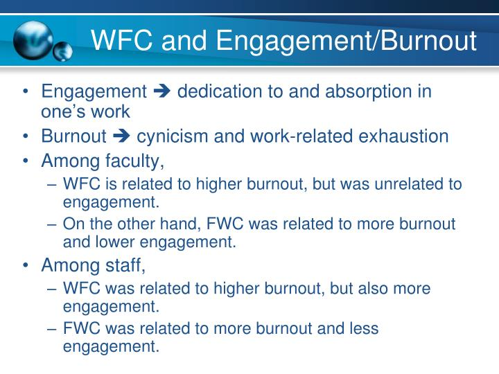 WFC and Engagement/Burnout