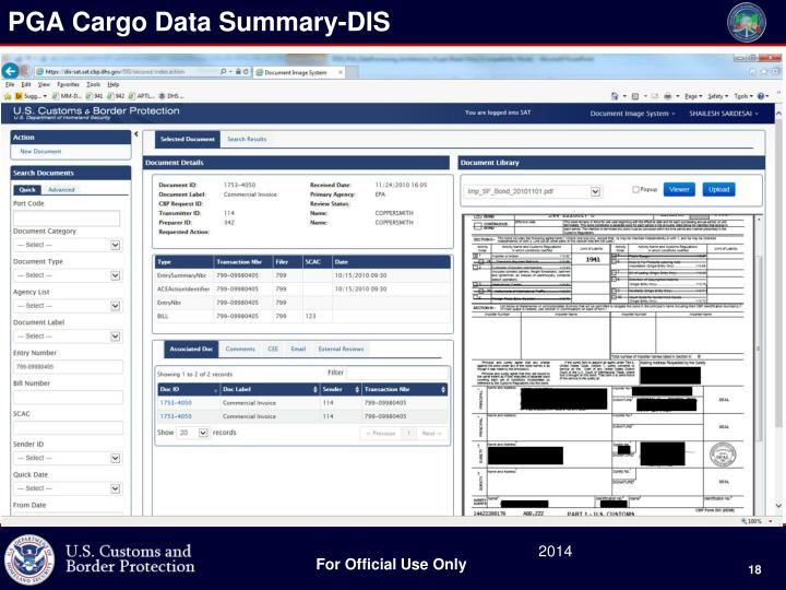 PGA Cargo Data Summary-DIS