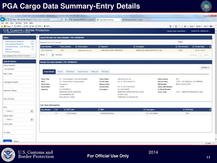 PGA Cargo Data Summary-Entry Details
