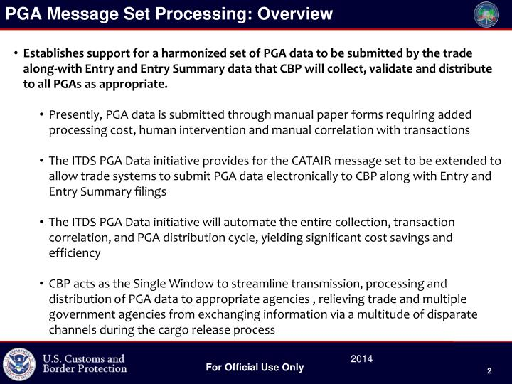 PGA Message Set Processing: Overview