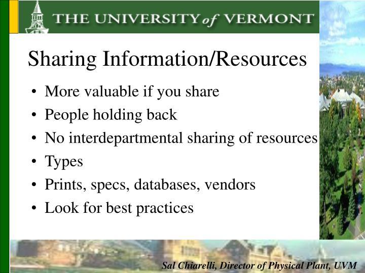 Sharing Information/Resources