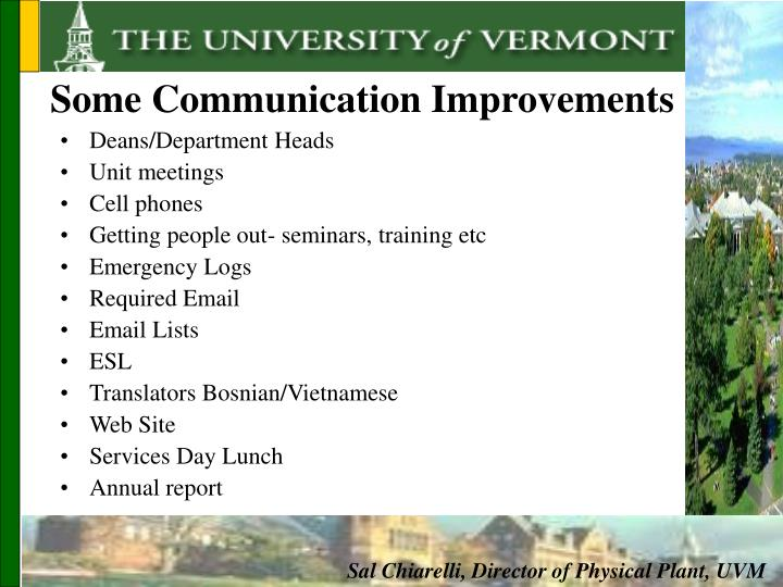Some Communication Improvements