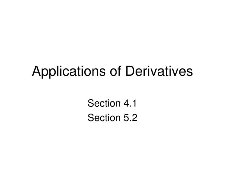 applications of derivatives n.