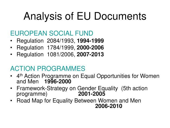 Analysis of eu documents