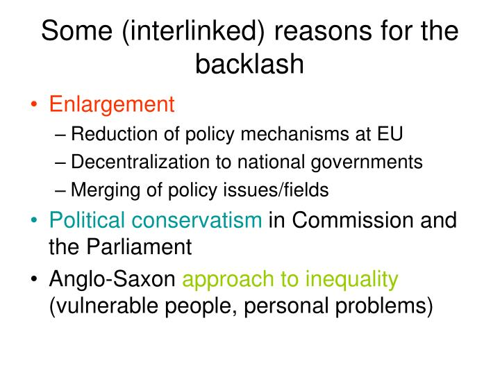 Some (interlinked) reasons for the backlash