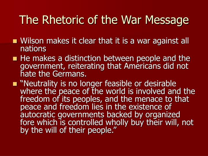 speech against war message George william norris opposing us entry into world war i 4 april 1917 them and could have gone to war against both of these nations for this violation of.