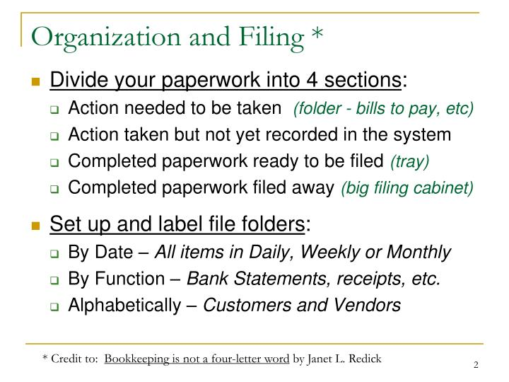 Organization and filing