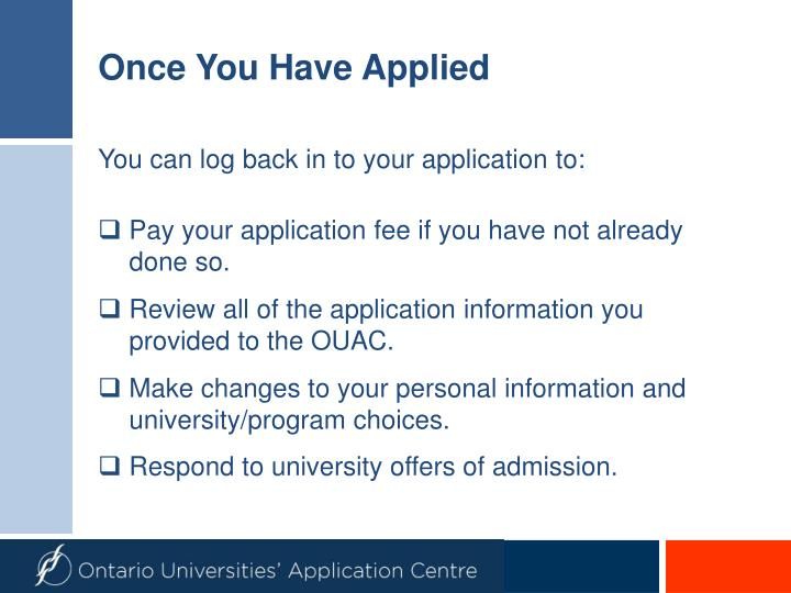 Once you have applied
