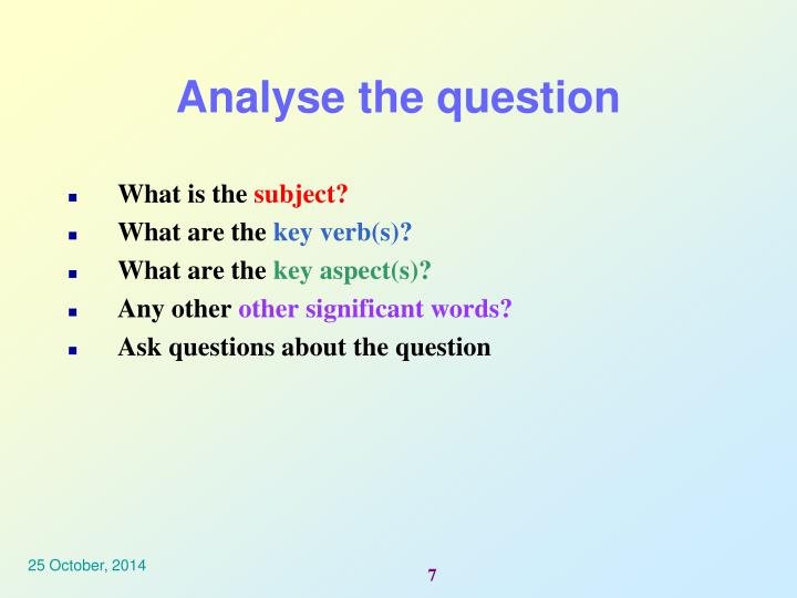 Analyse the question