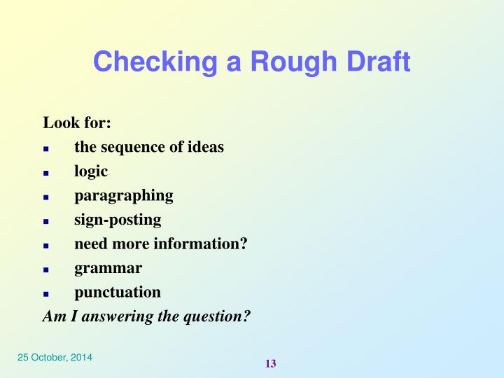 Checking a Rough Draft