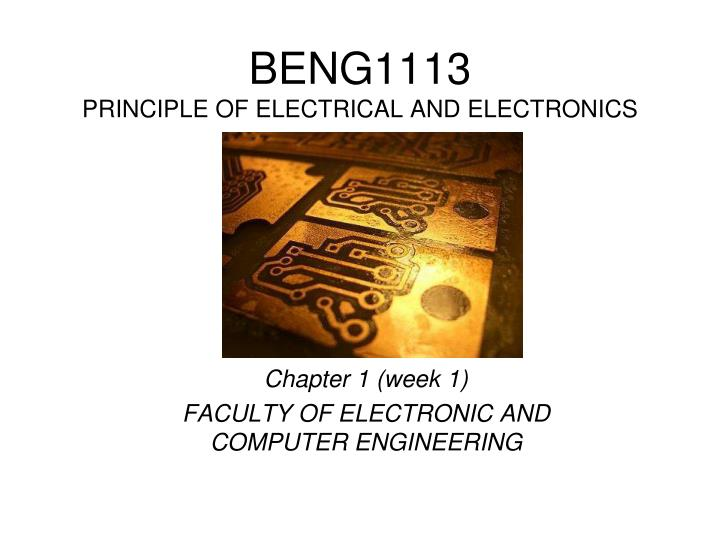 beng1113 principle of electrical and electronics n.