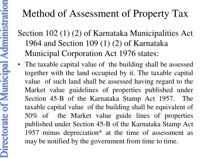 Method of Assessment of Property Tax