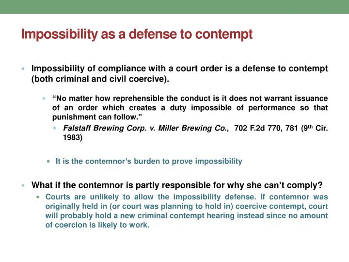 impossibility as a defense to contempt n.