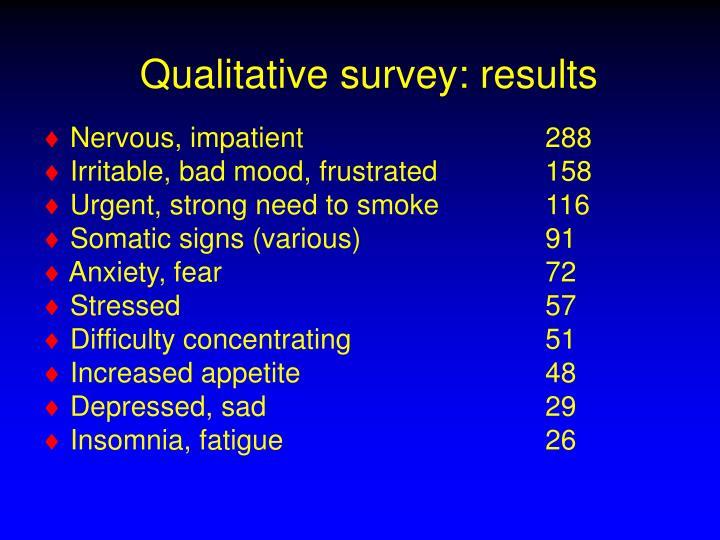 Qualitative survey: results