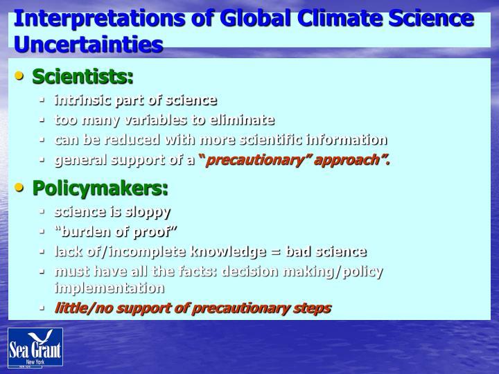 Interpretations of Global Climate Science Uncertainties