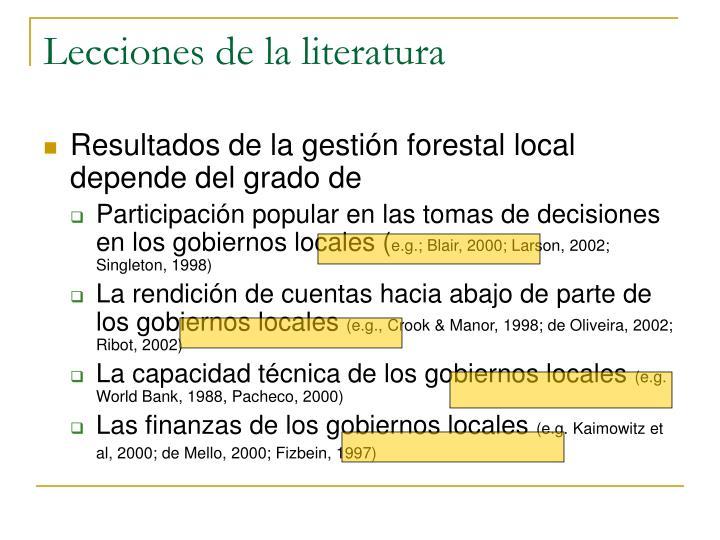 Lecciones de la literatura