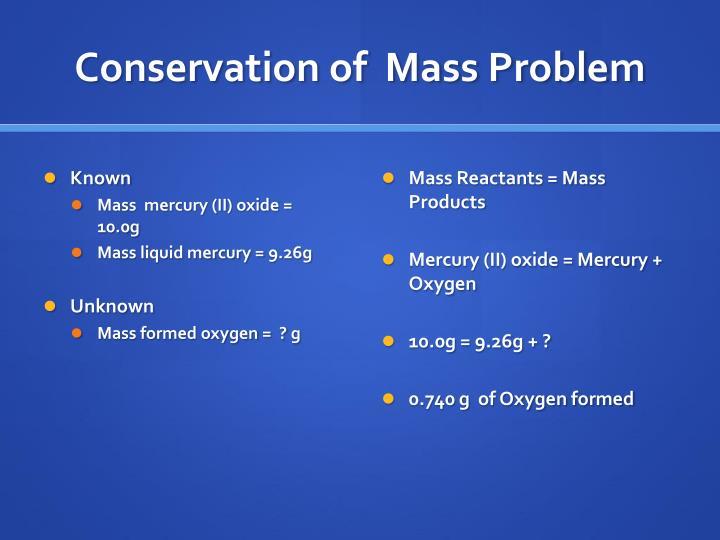 Conservation of  Mass Problem