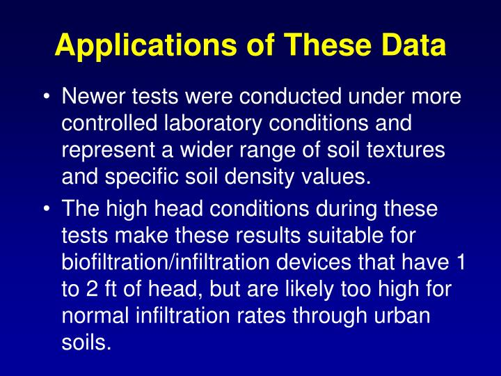 Applications of these data