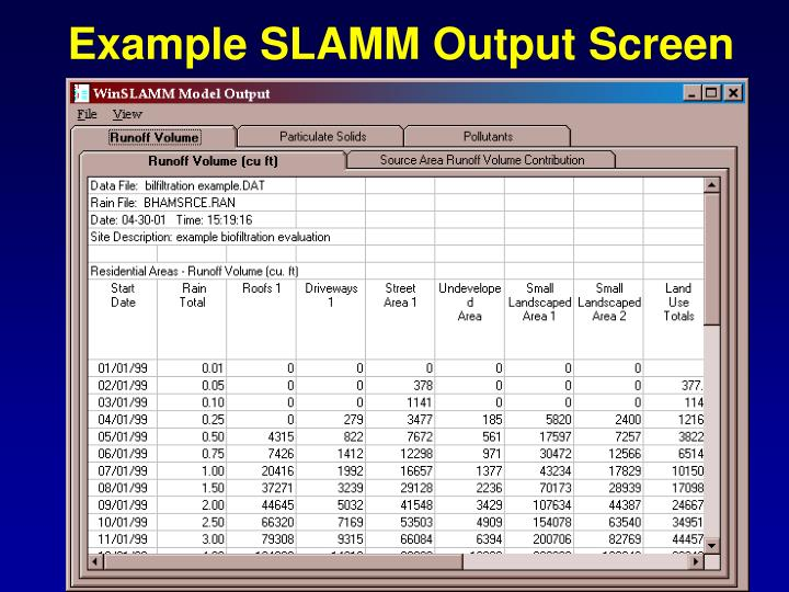 Example SLAMM Output Screen