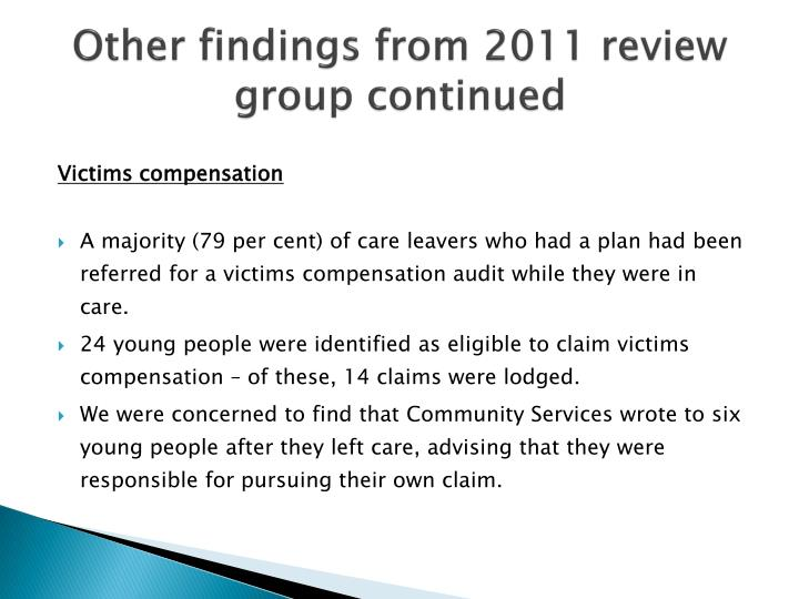 Other findings from 2011 review group continued