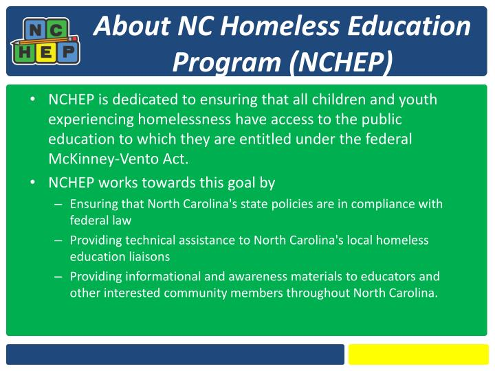 About nc homeless education program nchep