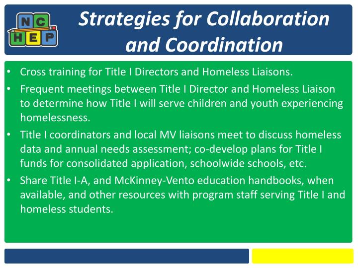 Strategies for Collaboration and Coordination