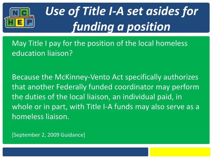 Use of Title I-A set asides for funding a position