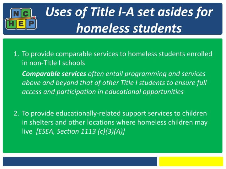 Uses of Title I-A set asides for homeless students