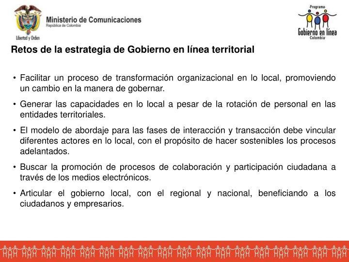 Retos de la estrategia de Gobierno en línea territorial