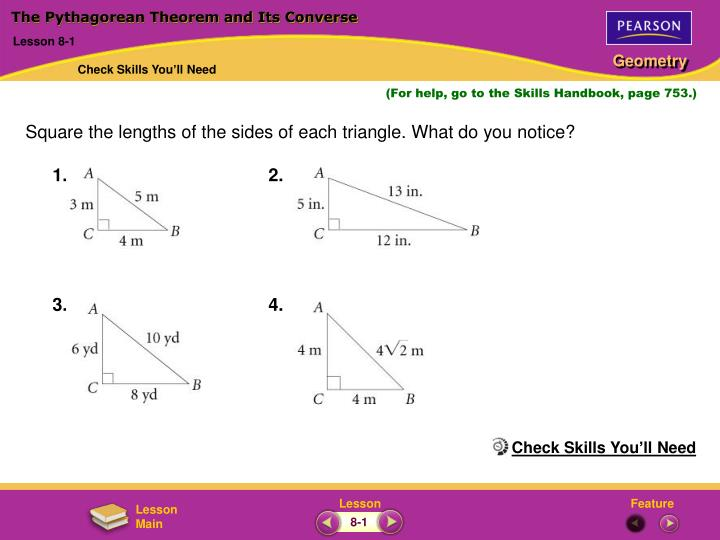 the pythagorean theorem and its converse n.