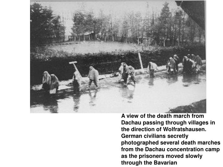 A view of the death march from Dachau passing through villages in the direction of Wolfratshausen. German civilians secretly photographed several death marches from the Dachau concentration camp as the prisoners moved slowly through the Bavarian
