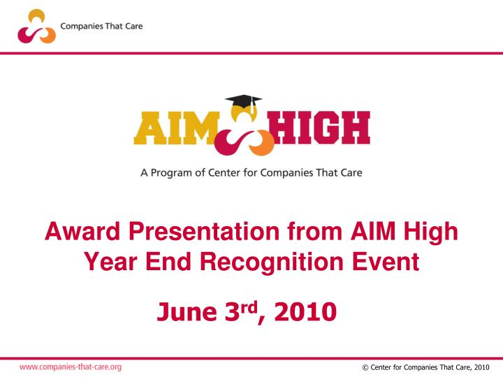 award presentation from aim high year end recognition event n.
