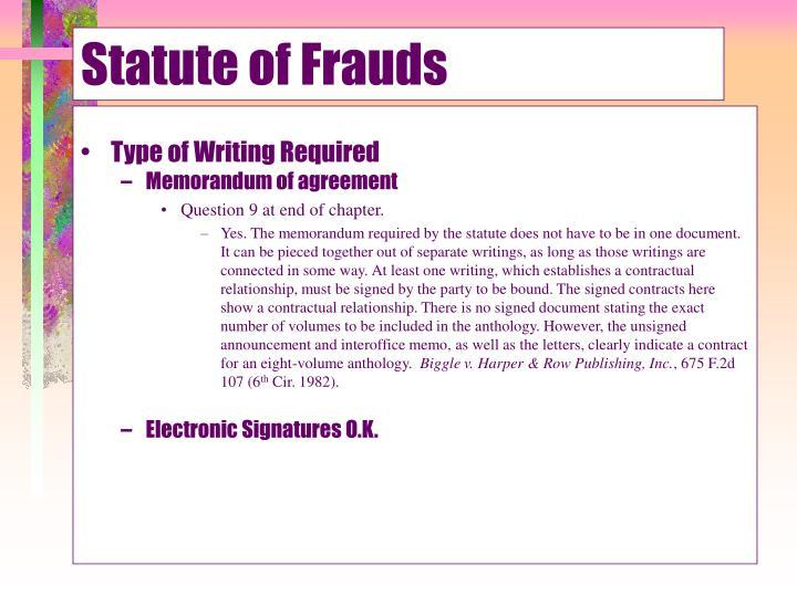 Statute of Frauds
