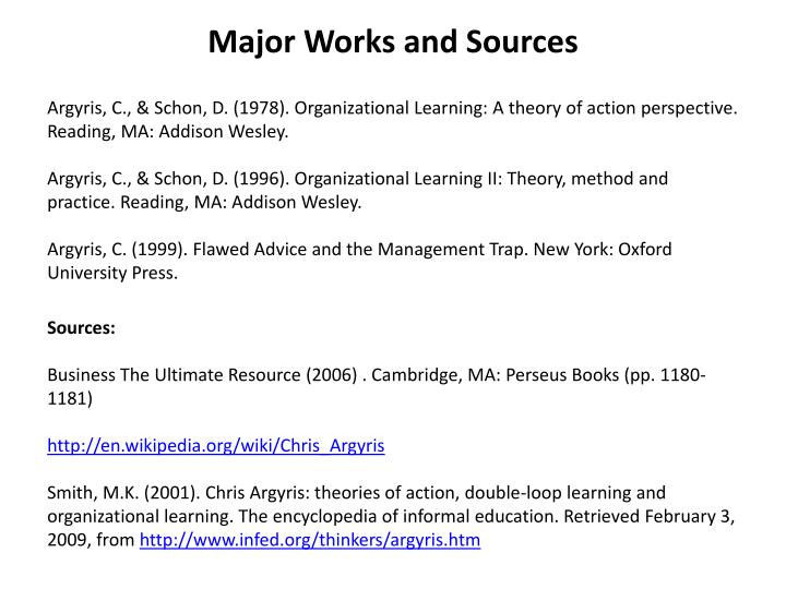 Major Works and Sources