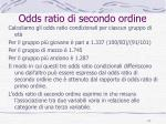 odds ratio di secondo ordine