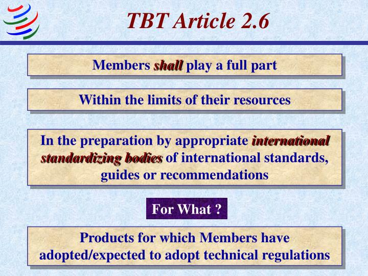 TBT Article 2.6