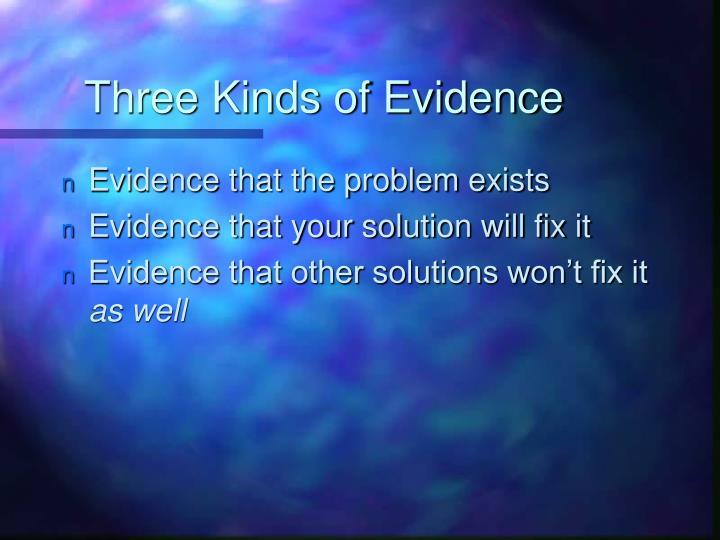 Three Kinds of Evidence