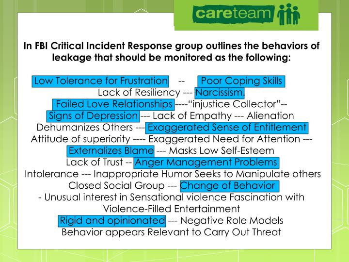 In FBI Critical Incident Response group outlines the behaviors of leakage that should be monitored as the following: