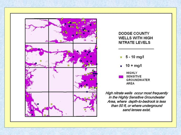 High nitrate wells  occur most frequently in the Highly Sensitive Groundwater Area, where  depth-to-bedrock is less than 50 ft, or where underground