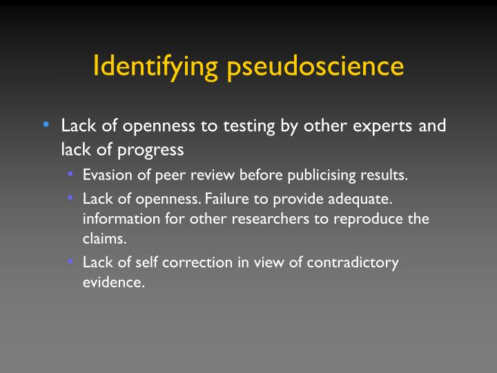 Identifying pseudoscience